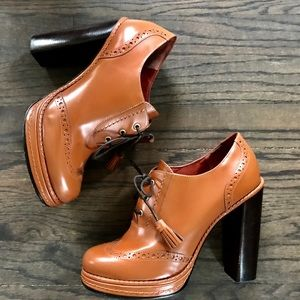 MARC BY MARC JACOBS BROGUE BROWN LEATHER BOOTIES